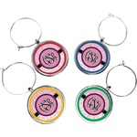 Zebra & Floral Wine Charms (Set of 4) (Personalized)