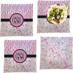 """Zebra & Floral Set of 4 Glass Square Lunch / Dinner Plate 9.5"""" (Personalized)"""