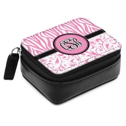 Zebra & Floral Small Leatherette Travel Pill Case (Personalized)