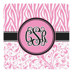 Zebra & Floral Square Decal (Personalized)