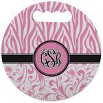 Zebra & Floral Stadium Cushion (Round) (Personalized)