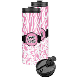 Zebra & Floral Stainless Steel Skinny Tumbler (Personalized)