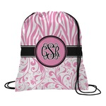 Zebra & Floral Drawstring Backpack (Personalized)