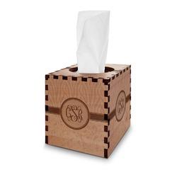 Zebra & Floral Wooden Tissue Box Cover - Square (Personalized)