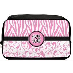Zebra & Floral Toiletry Bag / Dopp Kit (Personalized)