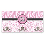 Zebra & Floral Wall Mounted Coat Rack (Personalized)