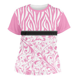 Zebra & Floral Women's Crew T-Shirt (Personalized)