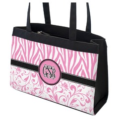 Zebra & Floral Zippered Everyday Tote (Personalized)