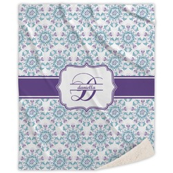 Mandala Floral Sherpa Throw Blanket (Personalized)