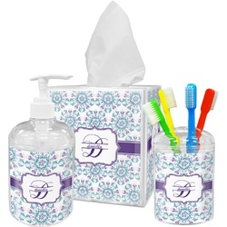 Mandala Floral Acrylic Bathroom Accessories Set w/ Name and Initial