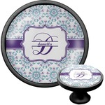 Mandala Floral Cabinet Knob (Black) (Personalized)