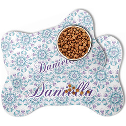Mandala Floral Bone Shaped Dog Food Mat (Personalized)