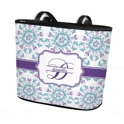 Mandala Floral Bucket Tote w/ Genuine Leather Trim (Personalized)