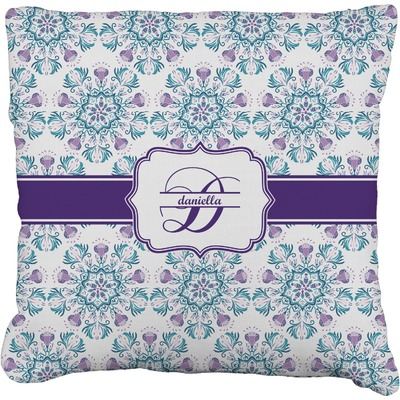 "Mandala Floral Faux-Linen Throw Pillow 20"" (Personalized)"