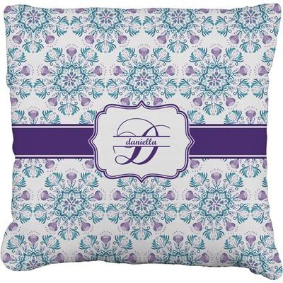 "Mandala Floral Faux-Linen Throw Pillow 20"" (Personalized)"