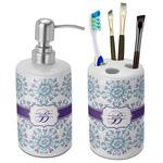 Mandala Floral Ceramic Bathroom Accessories Set (Personalized)