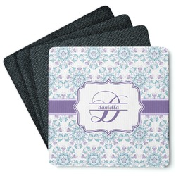 Mandala Floral 4 Square Coasters - Rubber Backed (Personalized)