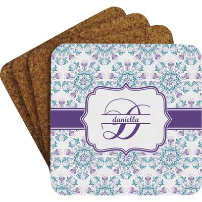 Mandala Floral Coaster Set w/ Stand (Personalized)