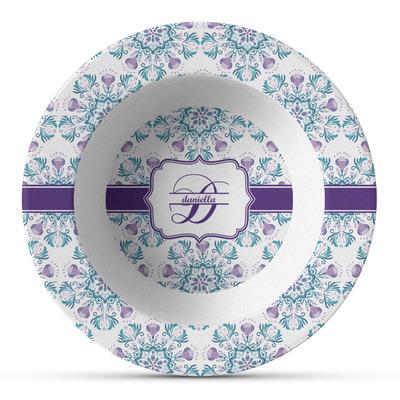 Mandala Floral Plastic Bowl - Microwave Safe - Composite Polymer (Personalized)
