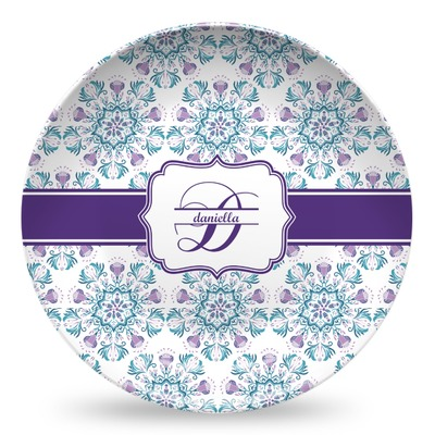 Mandala Floral Microwave Safe Plastic Plate - Composite Polymer (Personalized)