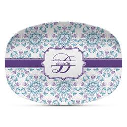 Mandala Floral Plastic Platter - Microwave & Oven Safe Composite Polymer (Personalized)