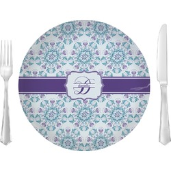 """Mandala Floral 10"""" Glass Lunch / Dinner Plates - Single or Set (Personalized)"""