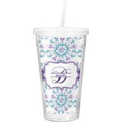 Mandala Floral Double Wall Tumbler with Straw (Personalized)
