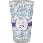 Mandala Floral Drinking / Pint Glass (Personalized)