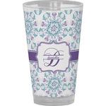 Mandala Floral Drinking / Pint Glass (Personalized)