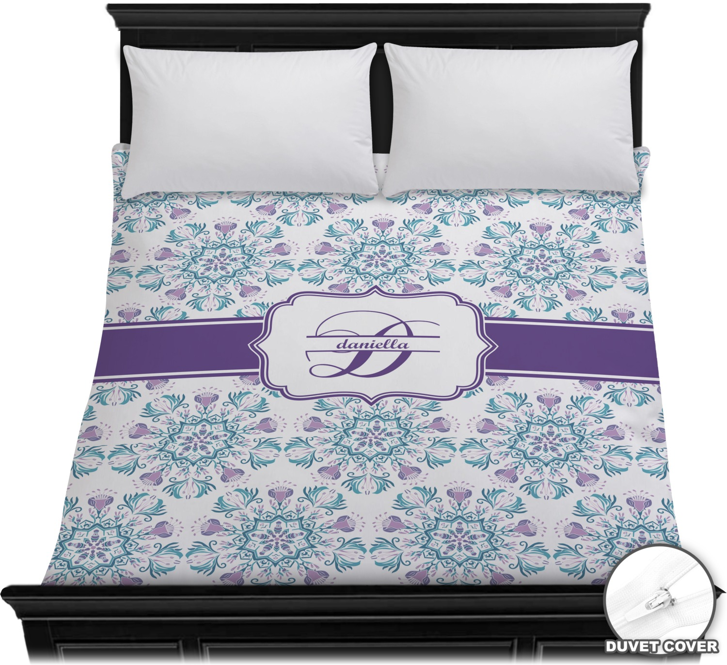 mandala floral duvet cover full queen personalized youcustomizeit. Black Bedroom Furniture Sets. Home Design Ideas
