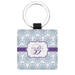 Mandala Floral Genuine Leather Rectangular Keychain (Personalized)