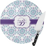 Mandala Floral Round Glass Cutting Board (Personalized)