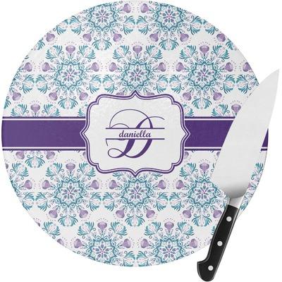Mandala Floral Round Glass Cutting Board (Personalized)