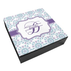 Mandala Floral Leatherette Keepsake Box - 8x8 (Personalized)