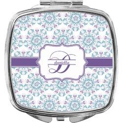 Mandala Floral Compact Makeup Mirror (Personalized)