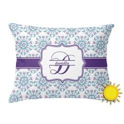 Mandala Floral Outdoor Throw Pillow (Rectangular) (Personalized)