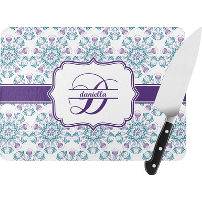 Mandala Floral Rectangular Glass Cutting Board (Personalized)