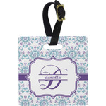 Mandala Floral Square Luggage Tag (Personalized)