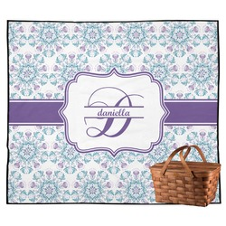 Mandala Floral Outdoor Picnic Blanket (Personalized)