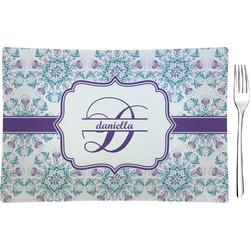 Mandala Floral Rectangular Glass Appetizer / Dessert Plate - Single or Set (Personalized)