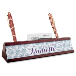 Mandala Floral Red Mahogany Nameplate with Business Card Holder (Personalized)