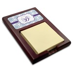Mandala Floral Red Mahogany Sticky Note Holder (Personalized)