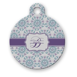 Mandala Floral Round Pet Tag (Personalized)