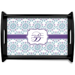 Mandala Floral Black Wooden Tray (Personalized)