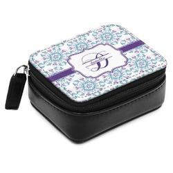 Mandala Floral Small Leatherette Travel Pill Case (Personalized)