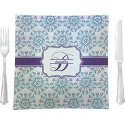"""Mandala Floral Glass Square Lunch / Dinner Plate 9.5"""" - Single or Set of 4 (Personalized)"""