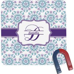 Mandala Floral Square Fridge Magnet (Personalized)