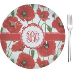 """Poppies Glass Appetizer / Dessert Plates 8"""" - Single or Set (Personalized)"""