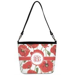 Poppies Bucket Bag w/ Genuine Leather Trim (Personalized)