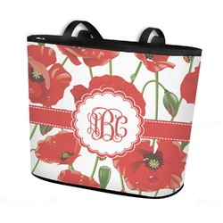 Poppies Bucket Tote w/ Genuine Leather Trim (Personalized)